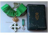 Italy WWI Order Saint St Maurice & Lazarus Commander's Cross Boxed Set w Miniature by Jacoangeli