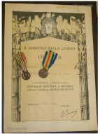 Italy WWI 2 Medal Set with Diploma to Captain (Italian Unification 1915 1918, Victory Interallied Medal by Johnson)