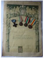 Italy WWI 4 Medal Set with Diploma to Lieutenant (Cross for War Merit, Italian Unification 1848 1918 by CBC, 1915 1918, Victory Interallied Medals by Johnson)