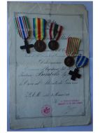 Italy WWI 5 Medal Set with Diploma of Cross for War Merit to Captain of the 203rd Infantry Regiment