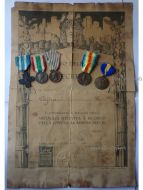 Italy WWI 5 Medal Set with Diploma (Cross for War Merit, Italian Unification 1848 1918 by CBC, 1915 1918 by Sacchini, 1st Army, Victory Interallied Medal by Johnson)