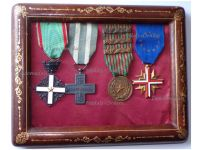 Italy WWII Set of 4 Medals Knight Order Merit Italian Republic Cross War Merit Commemorative Military Medal 1940 1943 with 3 Bars EU Cross Former Veterans