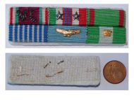 Italy WWII Ribbon Bar 6 Medals Italian Air Force Pilot (Volunteers of Liberty, Commemorative 1943 1945, Army & Air Force Long Command Medal, Order of Merit of the Italian Republic Knight's Cross)