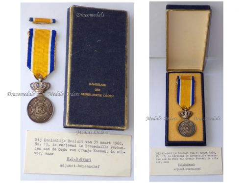 Netherlands Order of Orange Nassau Silver Medal Boxed by the Dutch Chancellery of Orders with Card of Issue Dated 1960