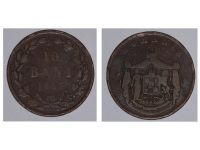 Romania Coin 10 bani 1867 King Carol Romanian Kingdom Bronze Circulated WATT & Co
