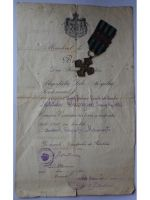 Romania WWI Commemorative War Cross 1916 1918 with 3 Clasps (Ardeal, Carpati, Marasesti) & Diploma to Child Soldier of the 97th Infantry Regiment