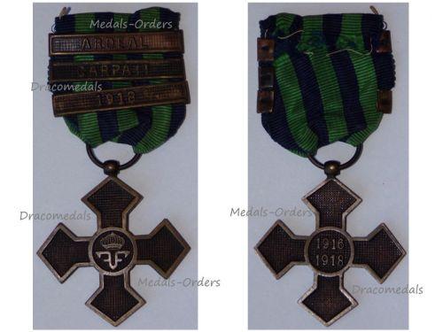 Romania WWI Commemorative War Cross 1916 1918 with 3 Clasps (Ardeal, Carpati, 1918)