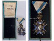 Serbia Order Saint Sava 1883 5th Class Knight's Cross Green Robe Serbian Decoration 1921 1941 boxed H. Freres