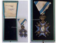Serbia Order Saint Sava 1883 5th Class Knight's Cross Green Robe Serbian Decoration 1921 1941 boxed H. Freres