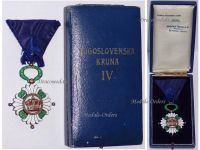 Yugoslavia WW2 Order Yugoslav Crown 1930 4th Class Officer's Cross Military Civil Medal Decoration WWII 1939 1945 Boxed Huguenin Freres