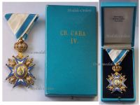 Serbia Order Saint Sava 1883 4th Class Officer's Cross Green Robe Serbian Decoration 1921 1941 boxed Sorlini Varazdin