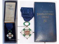 Yugoslavia WW2 Order Yugoslav Crown 1930 4th Class Officer's Cross Military Civil Medal Decoration WWII 1939 1945 Boxed Huguenin Freres