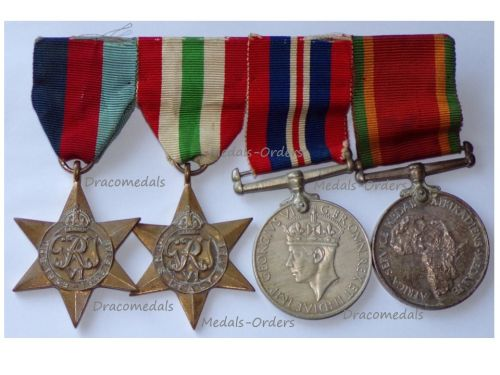 South Africa WWII Set of 4 Medals (1939 1945 Star, Italy Star, War Medal 1939 1945, Africa Service Medal) South African 6th Armoured Division Named