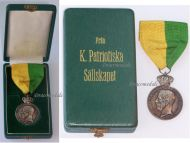 Sweden Medal Royal Patriotic Society Service 1933 Swedish Silver Decoration Boxed King Gustav V Named