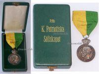 Sweden Medal Royal Patriotic Society Service 1933 Swedish Silver Decoration Boxed King Gustav V Named