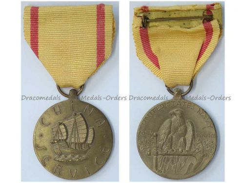 USA WW2 China Service Medal US Navy 2nd World War WWII 1941 1945 Commemorative Military Decoration Award