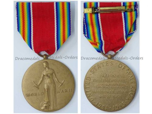 USA WW2 Victory Commemorative Military Medal 2nd World War WWII 1941 1945 Decoration Award