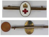 Austria Hungary WW1 Volunteers Hungarian Red Cross Cap Badge Horizontal Pin Great War WWI 1914 1918