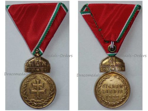 Hungary Wwii Signum Laudis Crown Military Medal 1922 Bronze Hungarian Decoration Admiral Horthy Axis