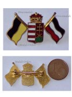Austria Hungary WWI Hungarian Crown Coat of Arms Central Powers Flags Cap Badge