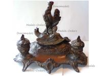 France Trench Art WWI Patriotic Inkwell French Rooster Victorious German Eagle by A. Bossu