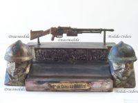 France Trench Art WW1 Machine Gun Chatellerault FM1924/29 Adrian Helmet Inkwell French Military 1914 1918 Great War Patriotic Malespina