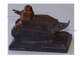 France Trench Art WWI Renault FT17 Tank French Military Desk Weight Great War 1914 1918 Numbered