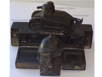 France Trench Art WWI 505 Tank Regiment Renault FT17 French Military Inkwell WW1 1914 1918 Great War Patriotic by Malespina