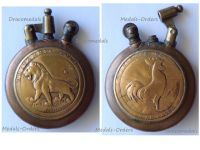 France Trench Art WWI Lighter with the British Lion for the Victories in Vimy, Roeux, Bullecourt 1917 and the French Rooster for the Defense of Verdun 1916 by Fleury & Thiaumont