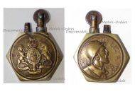 Britain France WWI Petrol Lighter Trench Art British Royal Coat Arms French Soldier On Les A