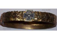 Germany  Bracelet Iron Cross EK1 Oak Leafs Patriotic Trench Art WW1 1914 1915 Prussia Veterans Great War