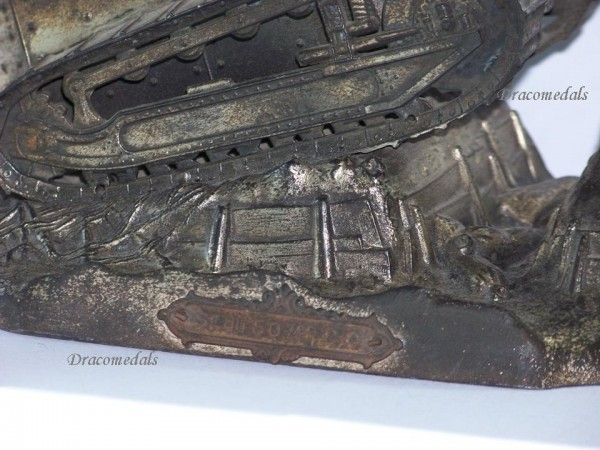 France Trench Art Ww1 Tank Renault Ft17 Military Inkwell
