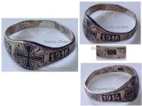 Germany WWI Patriotic Ring Silver 800 Iron Cross EK1 1914 1916