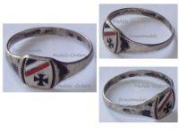 Germany WWI Patriotic Ring Silver Iron Cross EK1 German Imperial Colors