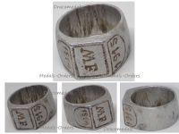 Germany WWI Patriotic Ring Aluminum Initials MF 1914 1916