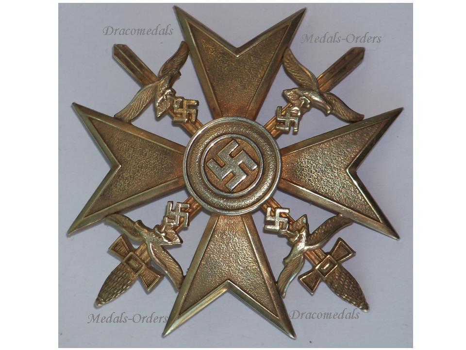 NAZI Germany WW2 Spanish Cross Gold Swords Civil War 1936 1939 Legion  Condor Military Badge German Maker C  E  Juncker Silver 900