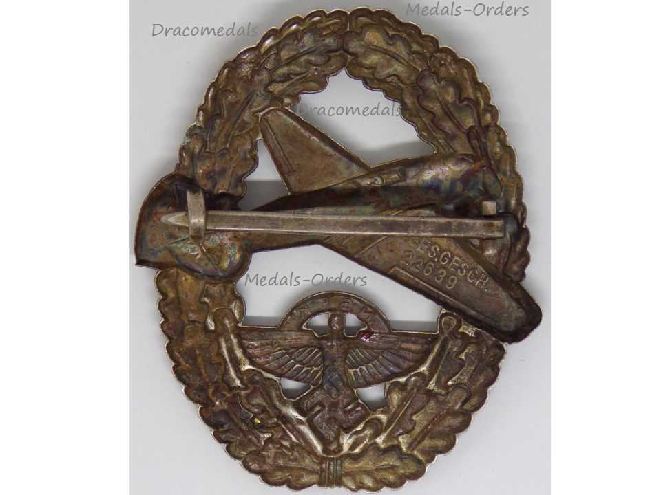NAZI Germany WWII NSFK Badge Powered Aircraft Pilot 2nd Type 1939 National  Socialist Flyers Corps WWI2 German Air Force Decoration