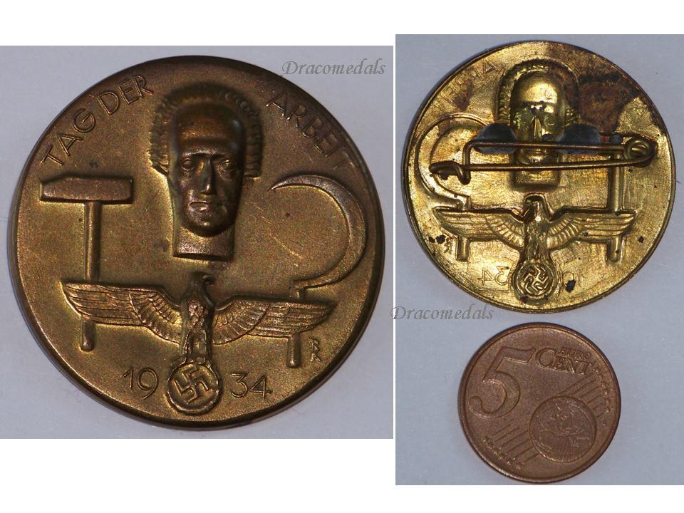 NAZI Germany WW2 Work Day Arbeit Tag 1934 badge German Tinnie Decoration  WWII 1939 1945