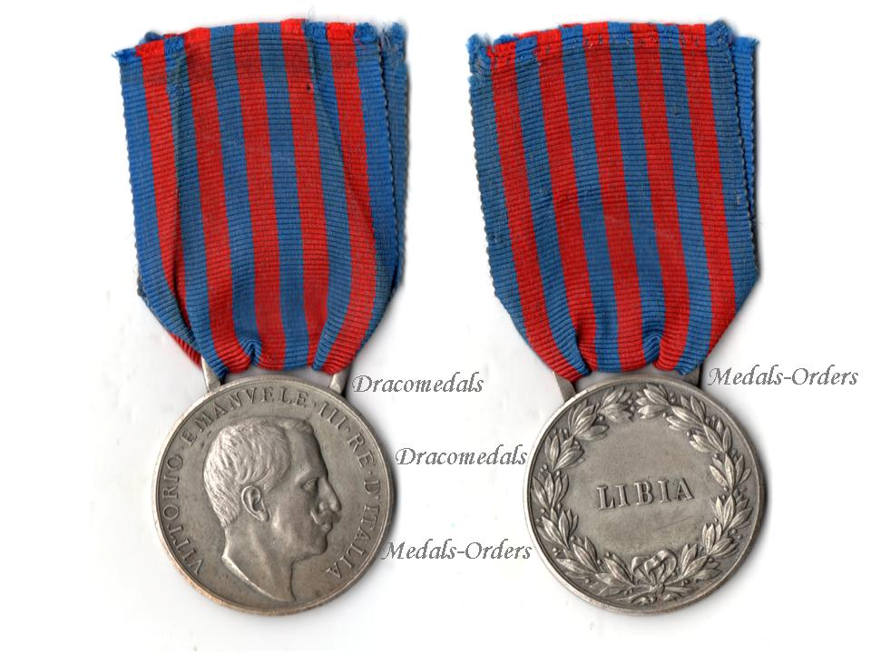 Italy WW1 Libya Campaign Commemorative Military Medal 1913 Italian King  Vittorio Emmanuele Maker Johnson