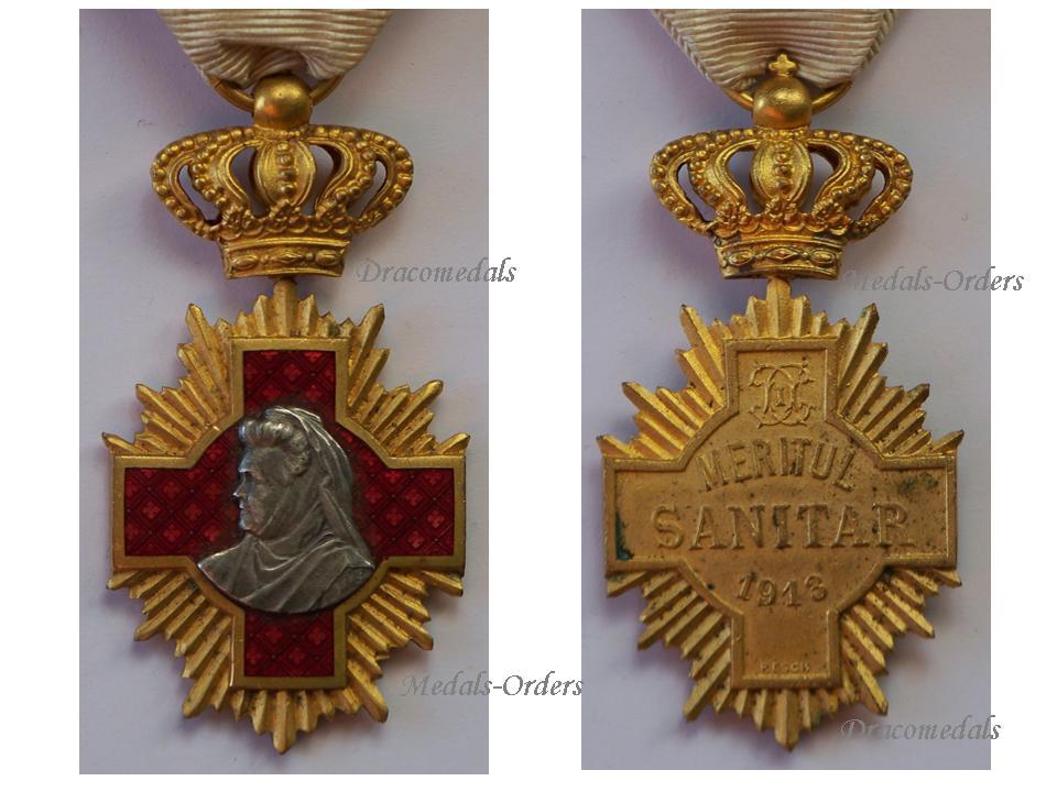 Romania WW1 Royal Cross Medical Merit 1st Class Military Medal Romanian  1913 1938 Great War Decoration Maker Resch